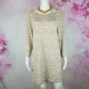WHBM tunic sweater gold lurex thread accents Sz XL